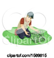 Clipart Of A Teen Guy Botanist Collecting Samples Using The Quadrant Method Royalty Free Vector Illustration