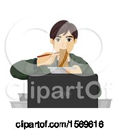 Teen Guy Eating Noodles In Front Of A Computer