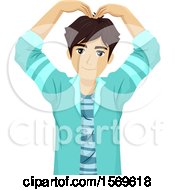 Clipart Of A Teen Guy Forming A Heart With His Arms Over His Head Royalty Free Vector Illustration