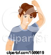 Clipart Of A Teen Guy With Sweaty Armpits Royalty Free Vector Illustration