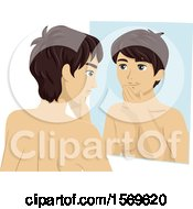 Clipart Of A Teen Guy Looking A Facial Hair Growth In The Mirror Royalty Free Vector Illustration