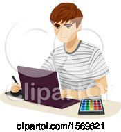Clipart Of A Teen Guy Using A Digital Pen Laptop And Color Palette Royalty Free Vector Illustration