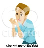 Clipart Of A Teen Guy With Bad Breath Royalty Free Vector Illustration