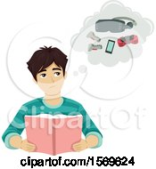 Clipart Of A Teen Guy Thinking About Gaming While Reading A Book Royalty Free Vector Illustration