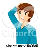 Clipart Of A Teen Guy With Dandruff Royalty Free Vector Illustration