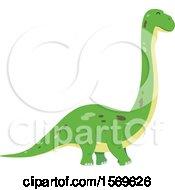 Clipart Of A Green Brontosaurus Dinosaur Royalty Free Vector Illustration