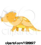 Clipart Of A Yellow Triceratops Dinosaur Royalty Free Vector Illustration