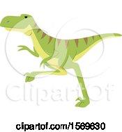Clipart Of A Green Deinonychus Dinosaur Royalty Free Vector Illustration