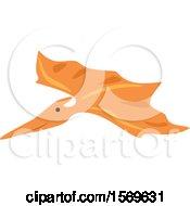 Clipart Of A Flying Orange Pterodactyl Dinosaur Royalty Free Vector Illustration