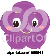 Clipart Of A Happy Purple Flower Royalty Free Vector Illustration