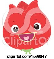 Clipart Of A Happy Red Flower Royalty Free Vector Illustration