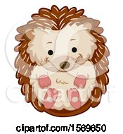 Clipart Of A Cute Curled Up Hedgehog Royalty Free Vector Illustration