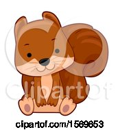 Clipart Of A Cute Sitting Squirrel Royalty Free Vector Illustration