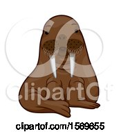Clipart Of A Cute Sitting Walrus Royalty Free Vector Illustration