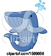Clipart Of A Cute Spouting Blue Whale Royalty Free Vector Illustration