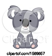 Clipart Of A Cute Sitting Koala Royalty Free Vector Illustration