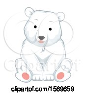 Clipart Of A Cute Sitting Polar Bear Royalty Free Vector Illustration by BNP Design Studio