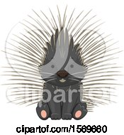 Clipart Of A Cute Sitting Porcupine Royalty Free Vector Illustration