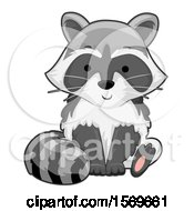 Clipart Of A Cute Sitting Raccoon Royalty Free Vector Illustration