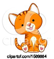 Poster, Art Print Of Cute Ginger Tabby Cat With Heart Pads On Its Paws