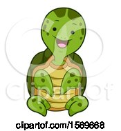 Clipart Of A Cute Sitting Sea Turtle Royalty Free Vector Illustration by BNP Design Studio