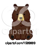 Clipart Of A Cute Sitting Brown Bear Royalty Free Vector Illustration