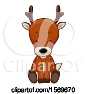 Clipart Of A Cute Sitting Reindeer Royalty Free Vector Illustration