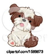 Clipart Of A Cute Sitting Dog Royalty Free Vector Illustration