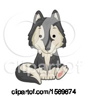 Clipart Of A Cute Sitting Wolf Royalty Free Vector Illustration