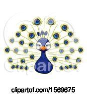 Clipart Of A Cute Peacock Royalty Free Vector Illustration