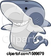 Clipart Of A Cute Shark Royalty Free Vector Illustration by BNP Design Studio