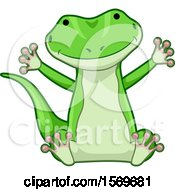 Clipart Of A Cute Sitting Gecko Lizard Royalty Free Vector Illustration