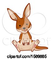 Clipart Of A Cute Sitting Kangaroo Royalty Free Vector Illustration