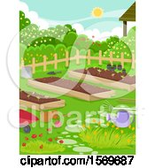 Clipart Of A Vegetable Garden With Raised Beds And Flowers Royalty Free Vector Illustration