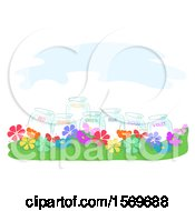 Clipart Of A Labeled Color Jars In A Flower Garden Royalty Free Vector Illustration