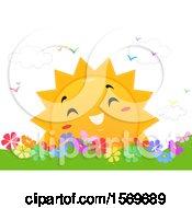 Poster, Art Print Of Happy Sun Over A Flower Garden
