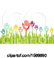 Poster, Art Print Of Garden Of Colorful Hand And Heart Flowers