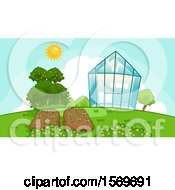 Sunny Sky Over A Greenhouse And Garden