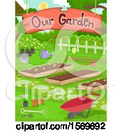 Clipart Of A Garden With A Hanging Sign Royalty Free Vector Illustration