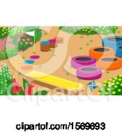 Clipart Of A Bench And Colorful Tires And Stumps In A Garden Royalty Free Vector Illustration
