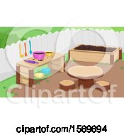 Clipart Of A Mud Kitchen Outdoors In The Garden Royalty Free Vector Illustration