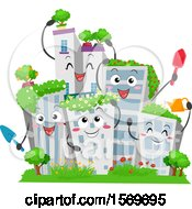 Clipart Of Building Characters With Green Garden Roof Tops Royalty Free Vector Illustration