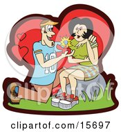 Man Kneeling While Popping The Marriage Proposal Question To His Girlfriend And Showing Her A Big Diamond Ring Clipart Illustration