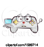 Video Game Controller Mascot Character Holding A Laptop With Html Code