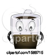 Clipart Of A Coffee Java Mug Mascot Character Using A Laptop Royalty Free Vector Illustration
