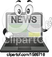Clipart Of A Laptop Mascot Character With News On The Screen Royalty Free Vector Illustration by BNP Design Studio
