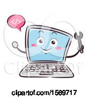 Clipart Of A Laptop Mascot Character Holding A Wrench And Talking Html Coding Royalty Free Vector Illustration