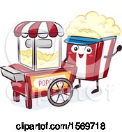 Popcorn Mascot Character At A Food Cart