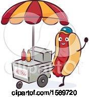 Hot Dog Mascot Character At A Cart