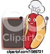 Hot Dog Mascot Character With A Blank Menu Board